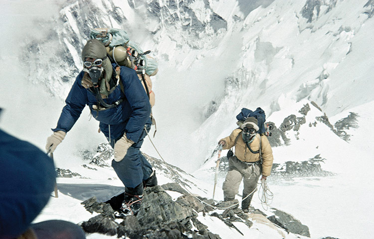 Edmund Hillary and Tenzing Norgay approaching 28-000 feet